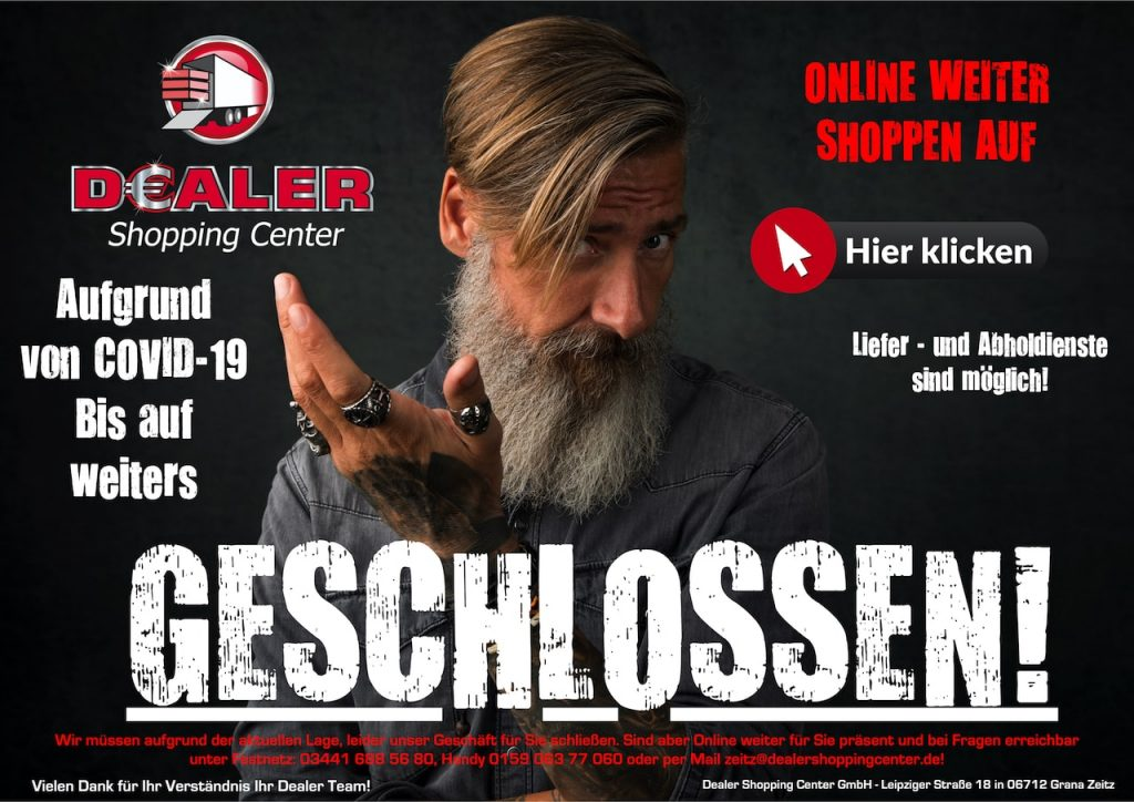 Dealer Covid geschlossen Homepage